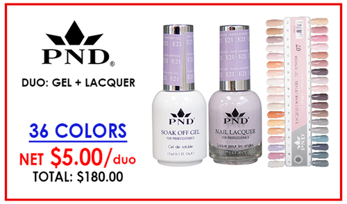 PND Matching Gel + Lacquer - Complete Set - 36 Colors (E01-E36) GET FREE SAMPLE TIP