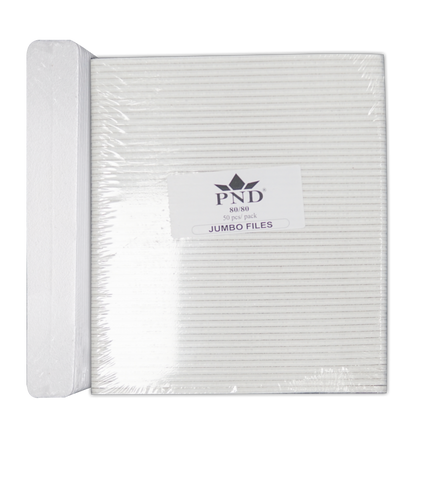 PND Nail Files White Jumbo Grit:80/80 - 50 per pack
