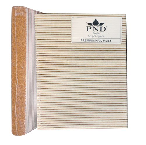 PND Nail Files Square Gold (White center) Grit:80/80 - 50 per pack