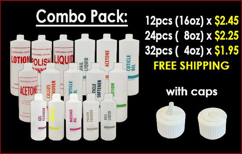 Empty Bottles with Flip-Cap Combo Pack of 68 pcs: 32pcs(4oz)+24pcs(8oz)+12pcs(16oz) FREE SHIPPING