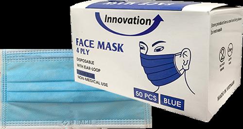 Disposable Innovation 4 Ply Face Mask 50pcs/Box