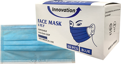 Disposable Innovation 4 Ply Face Mask 50pcs/Box Pre-Packed 50 boxes (Net $6.00/box)