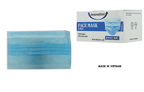 Disposable Innovation 3 Ply Face Mask Pre-Packed 50 boxes/50pc (Net $7.00/box)