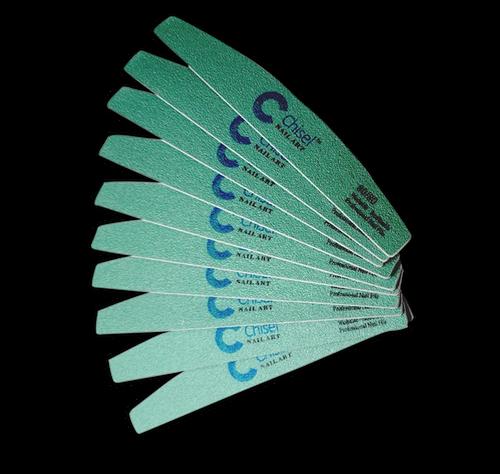 Chisel Nail File Half Moon 80/80 Green Pack/30pcs