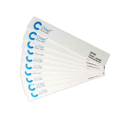 Chisel Nail File Square 80/80 White Pack/30pcs