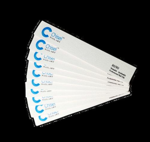 Chisel Nail File Jumbo Square 80/80 White Pack/30pcs