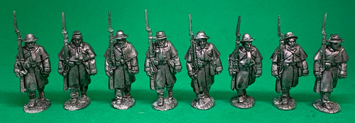 CS Infantry, greatcoats, marching at the shoulder