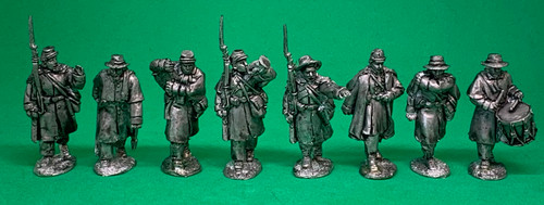 CS Infantry, command, greatcoats, marching at the shoulder