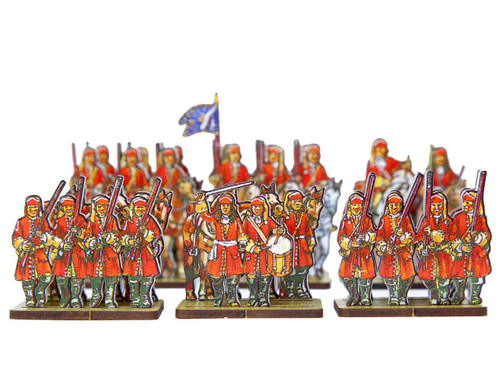 28mm WoSS French Dragoons mounted and dismounted (red uniforms)