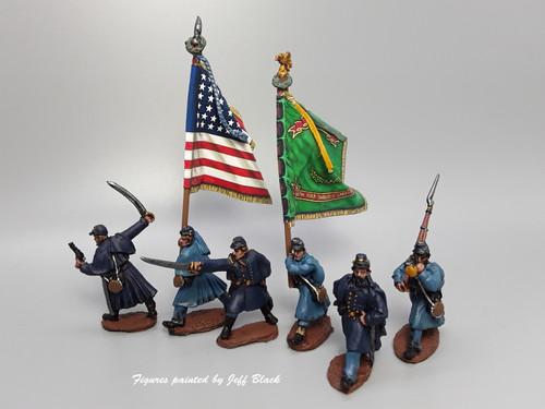 Union Irish Regiment, greatcoats, marching/advancing
