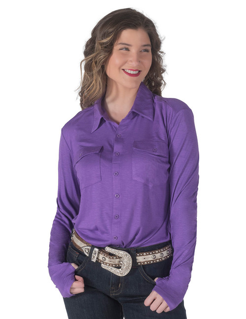 PULLOVER BUTTON-UP (PURPLE)