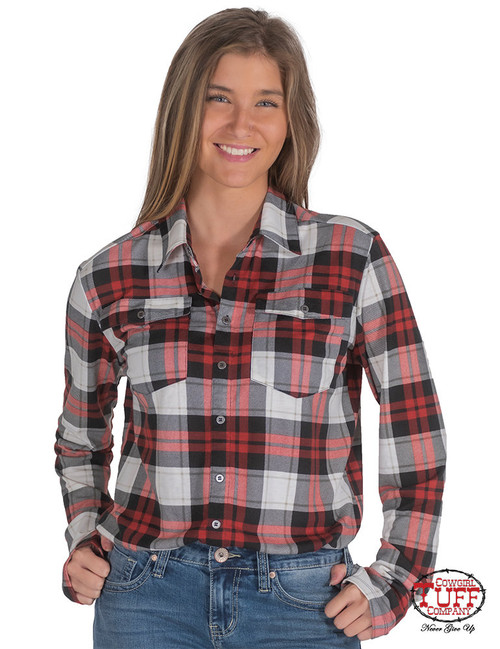 PULLOVER BUTTON-UP (RED PLAID)