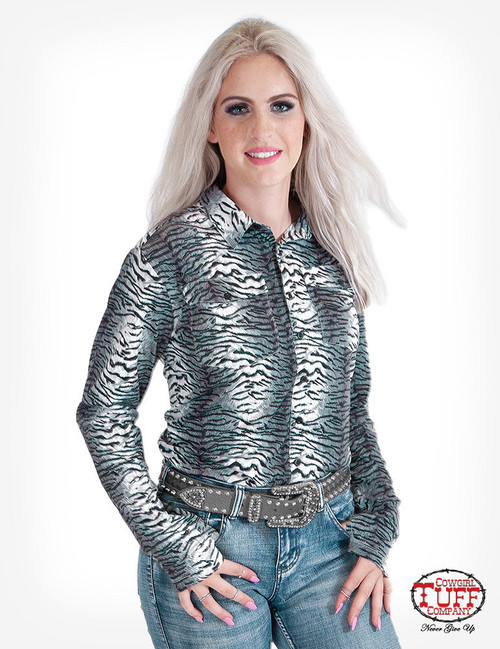 PULLOVER BUTTON-UP (TIGER PRINT)
