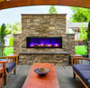 """BI-50 Deep Panorama Amantii Electric Fireplace. All units come with the Fire & Ice media featuring large glass nuggets and clear and blue diamond shaped fire glass, remote control and op onal black metal surround. Our """"all in the box""""program ensures you will have everything you need for a successful install."""