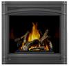 PHAZER Logs, MIRRO-FLAME Porcelain Reflective Radiant Panels, Wrought Iron Front