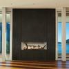 Empire Boulevard Vent Free Contemporary Linear Fireplace - Shown w/ Porcelain White Liner and Blue Bay Ceramic Log Set