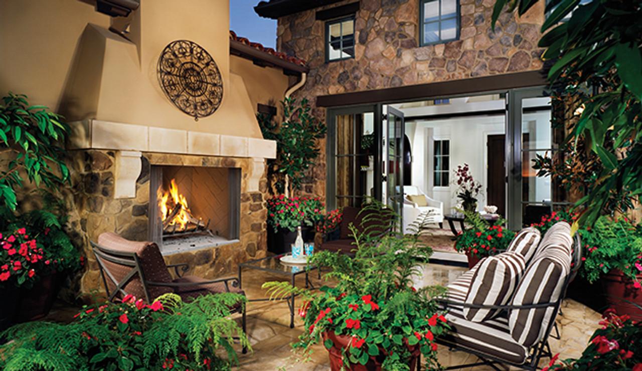 "Superior Purefire 42"" Paneled Outdoor Wood-Burning Fireplace - White Stacked Refractory Panels - WRE4542"