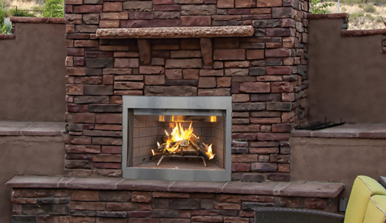 "Superior Purefire 42"" Paneled Outdoor Wood-Burning Fireplace - White Stacked Refractory Panels"