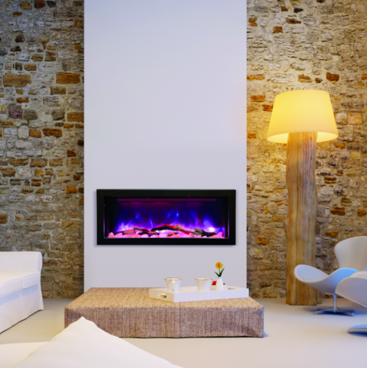 """BI-40 Deep Panorama Amantii Electric Fireplace. Our units give you multiple length and depth options as well as giving you the ability to install your fireplace with your choice of finishing material built right to the glass for a """"clean face"""" design or using the provided black metal surround."""