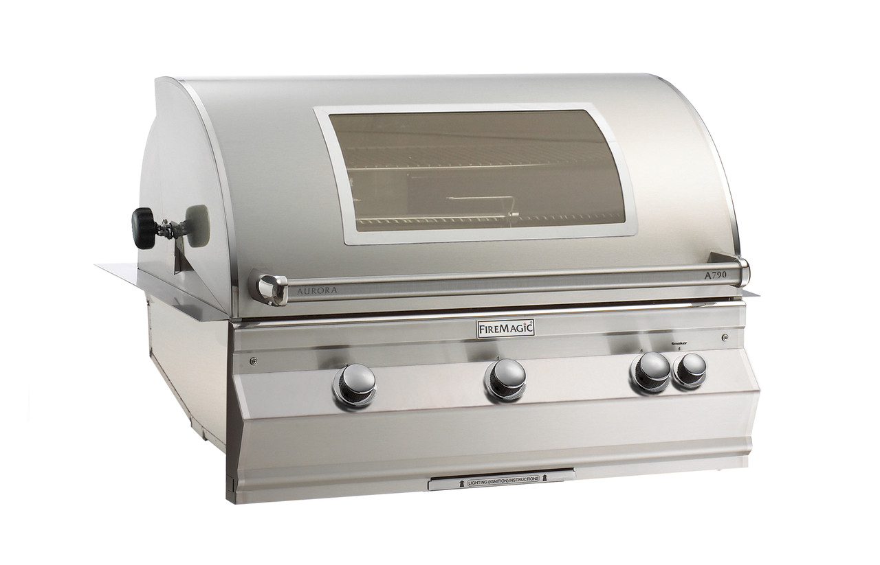 Firemagic Aurora A790i - Analog Style Built-In Grill with Backburner & Rotisserie Kit and Infrared Burner on Left Side and Magic View Window