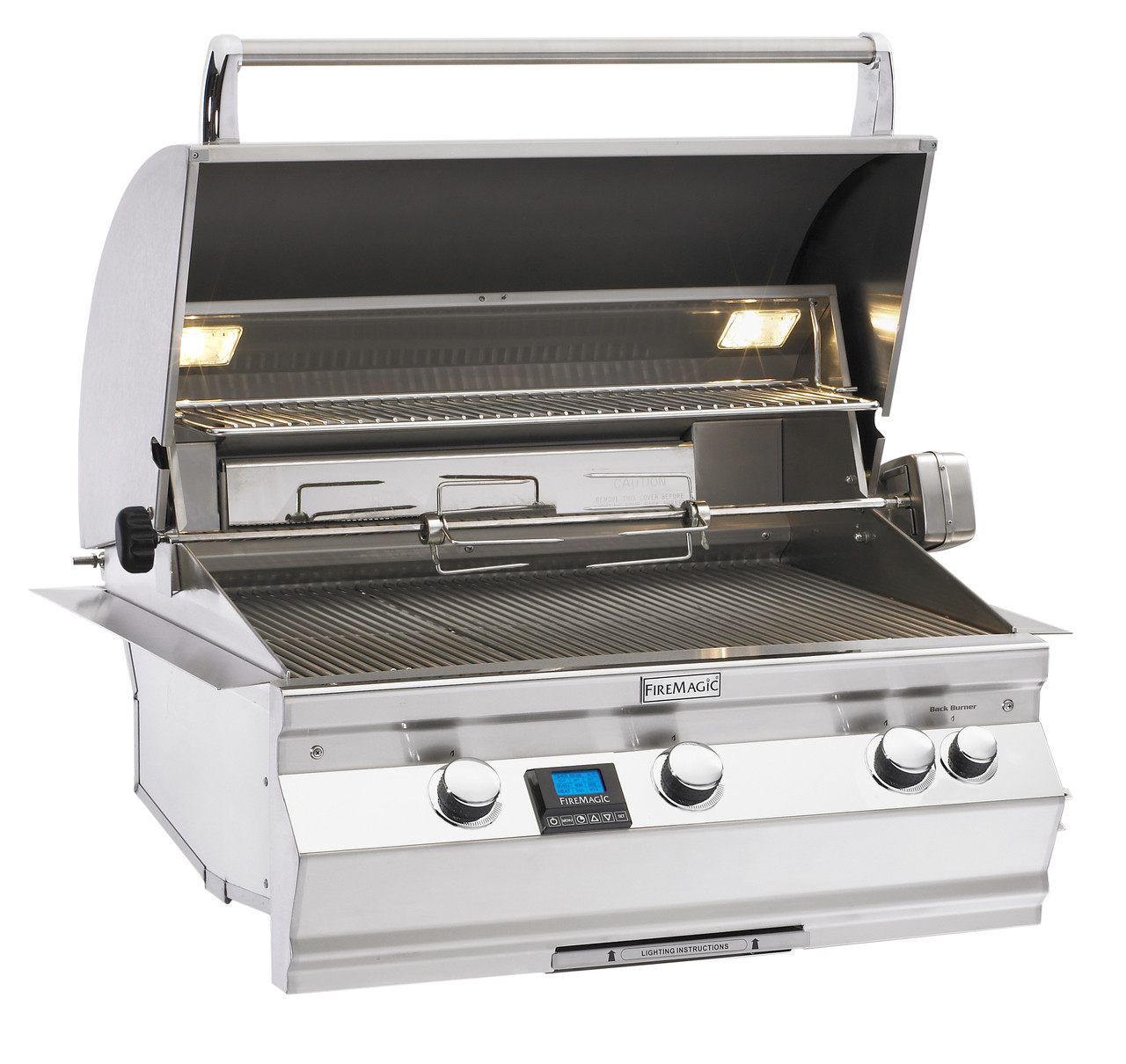 Firemagic Aurora A660i Built-In Grill - Analog Style with Backburner & Rotisserie Kit and Left Side Infrared Burner and Magic View Window