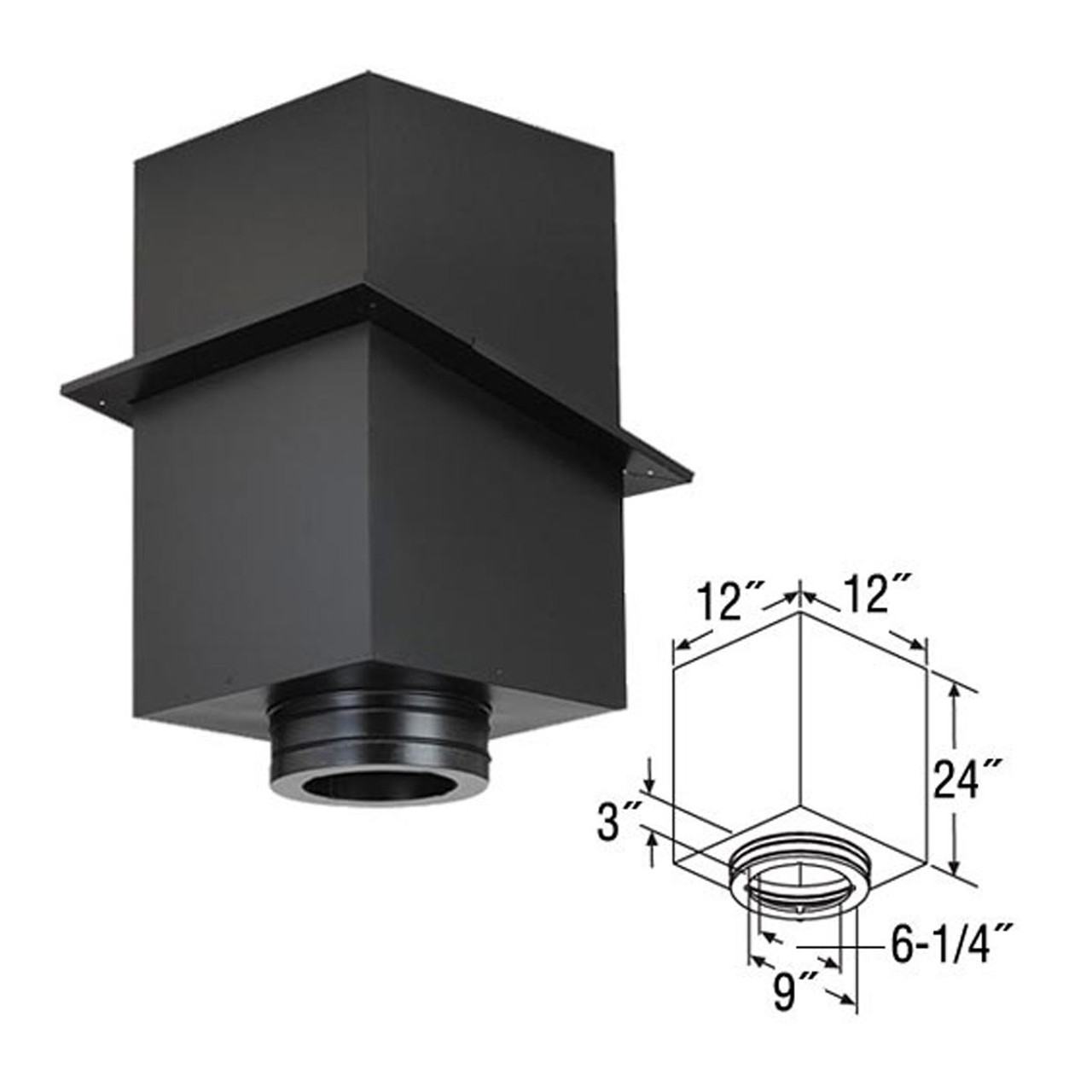 6'' DuraTech 24'' Square Ceiling Support Box 6DT-CS24