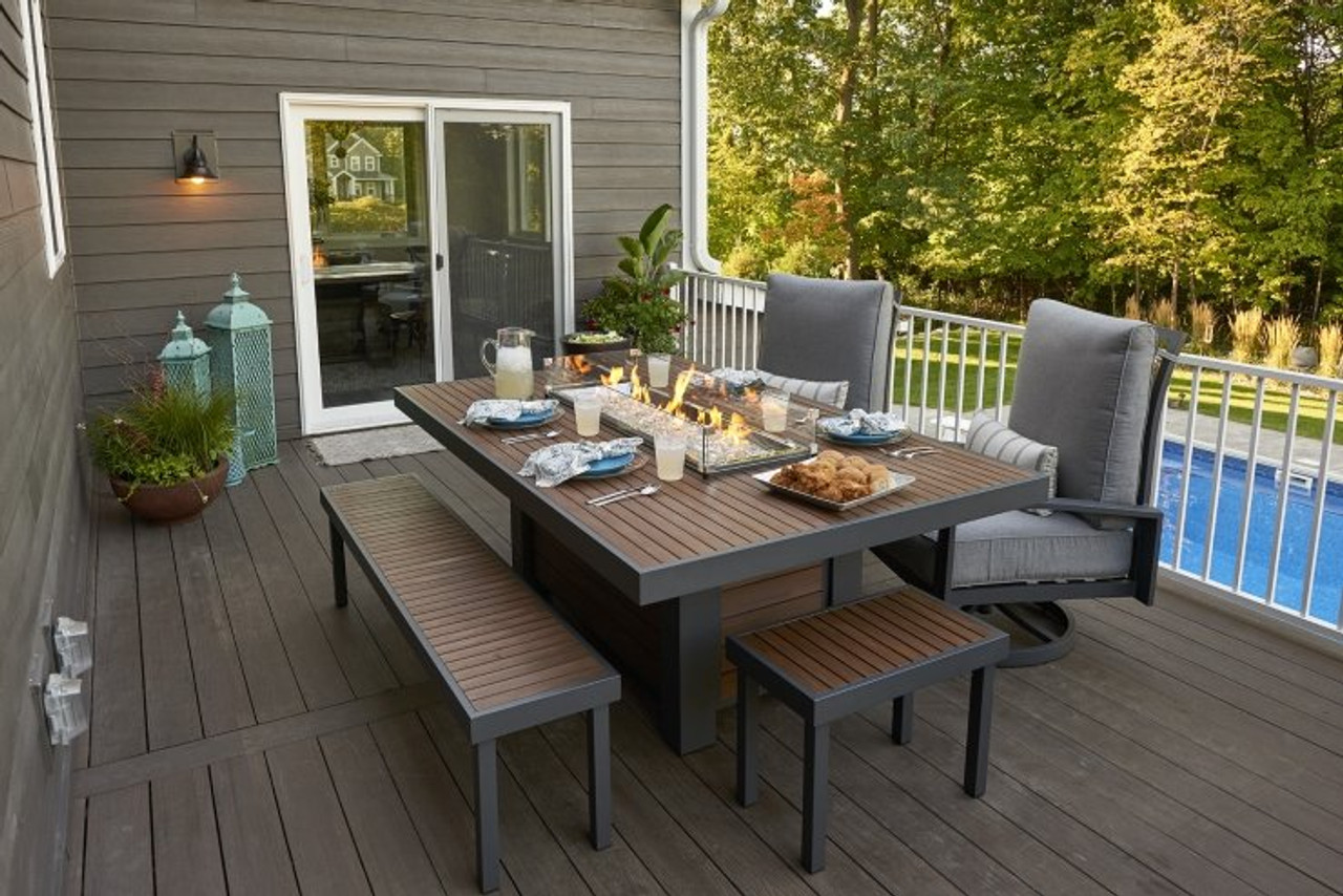 Outdoor Greatroom Kenwood Linear Dining Height Gas Fire ... on Embers Fireplaces & Outdoor Living id=46231