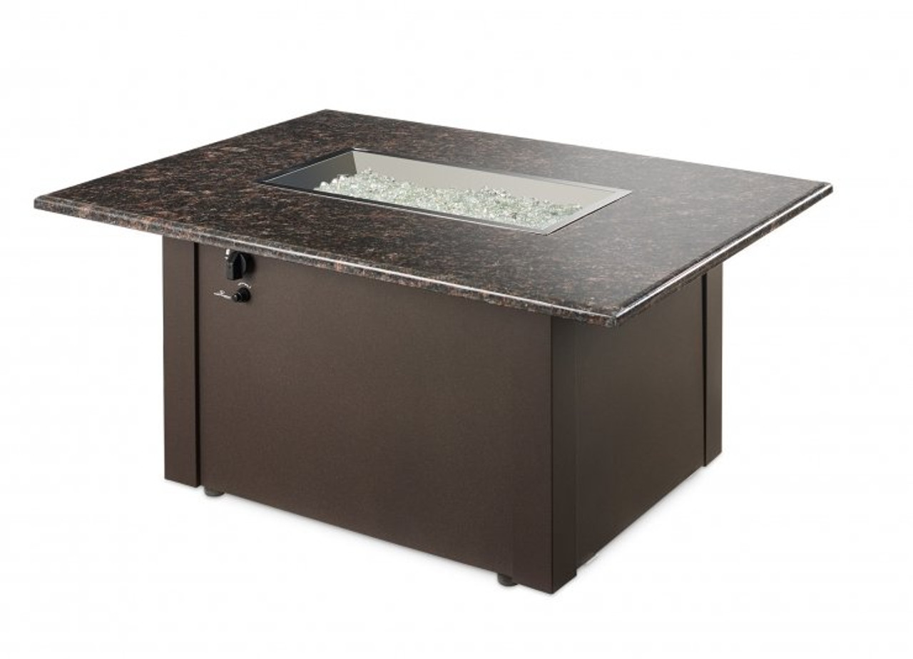 Outdoor Greatroom Brown Grandstone Rectangular Gas Fire Pit Table