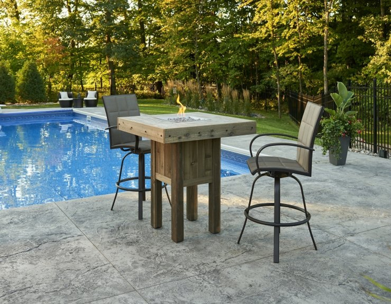 Outdoor Greatroom Westport Square Pub Height Gas Fire Pit Table