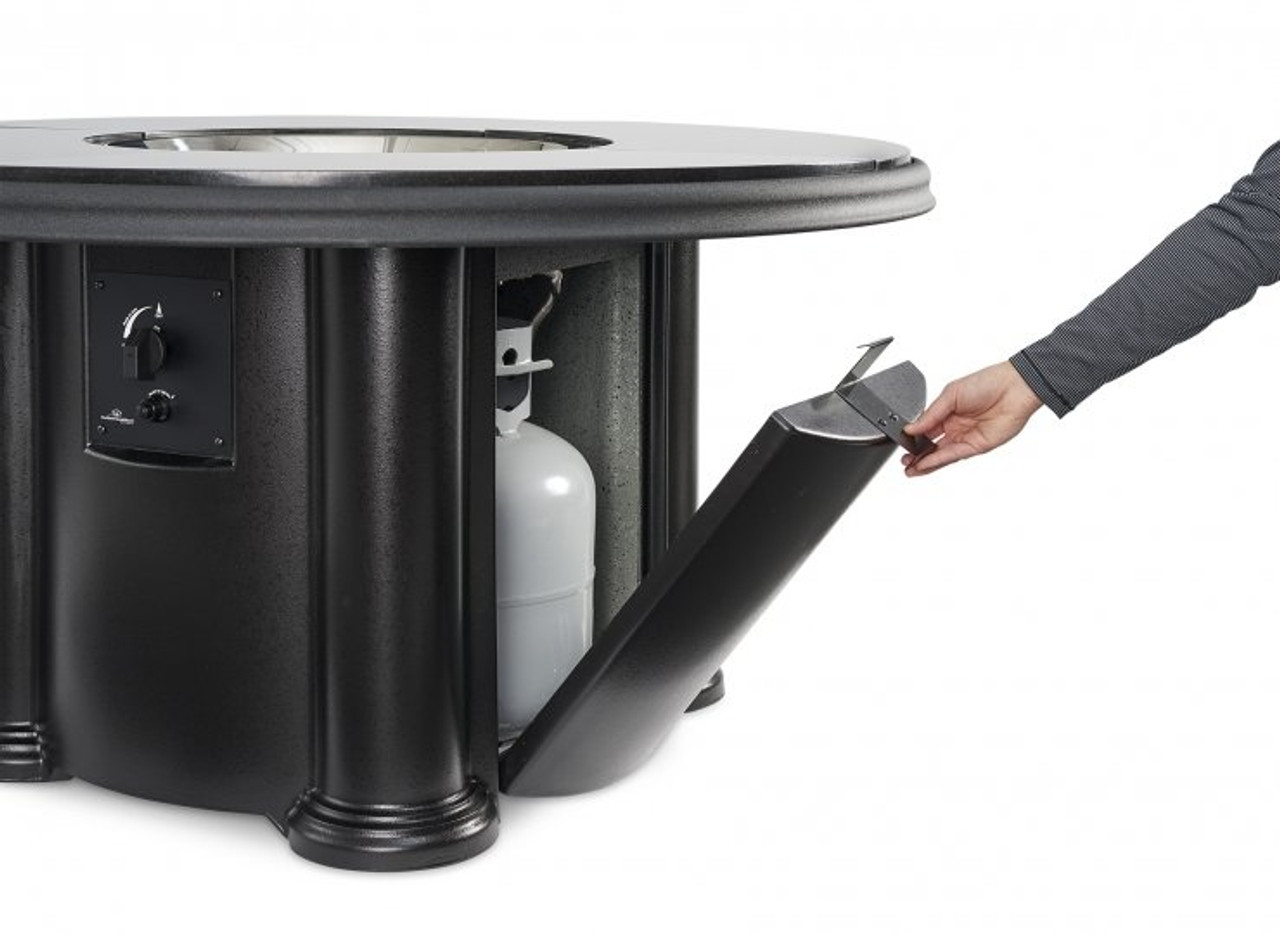 Outdoor Greatroom Black Grand Colonial Gas Fire Pit Table