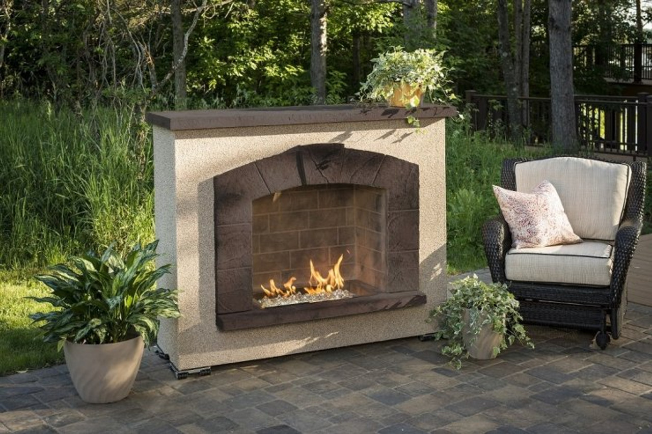 Outdoor Greatroom Stone Arch Freestanding Gas Fireplace