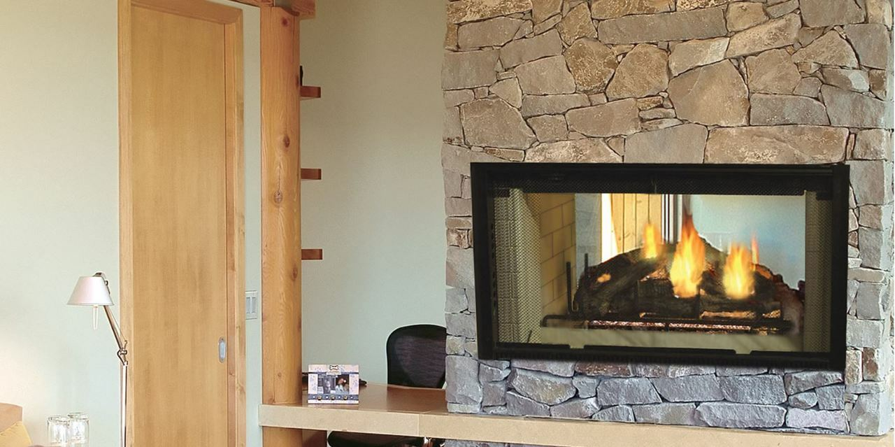 "Majestic Designer 42"" See-Thru Radiant Wood Burning Fireplace"