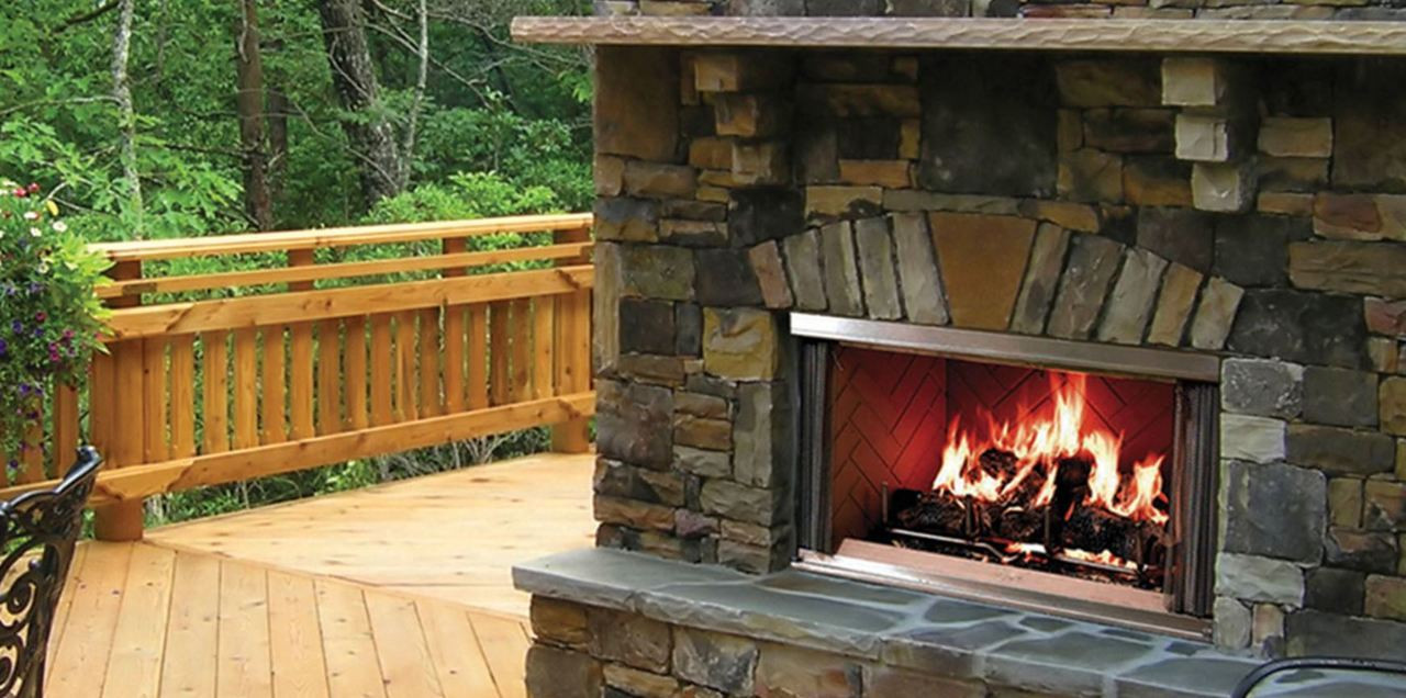 "Majestic Montana 42"" Outdoor Stainless Steel Wood Fireplace"