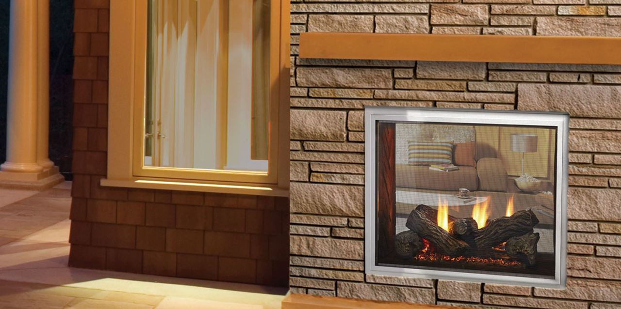 Majestic Fortress Indoor/Outdoor Gas Fireplace with IntelliFire Touch Ignition System, See-Through