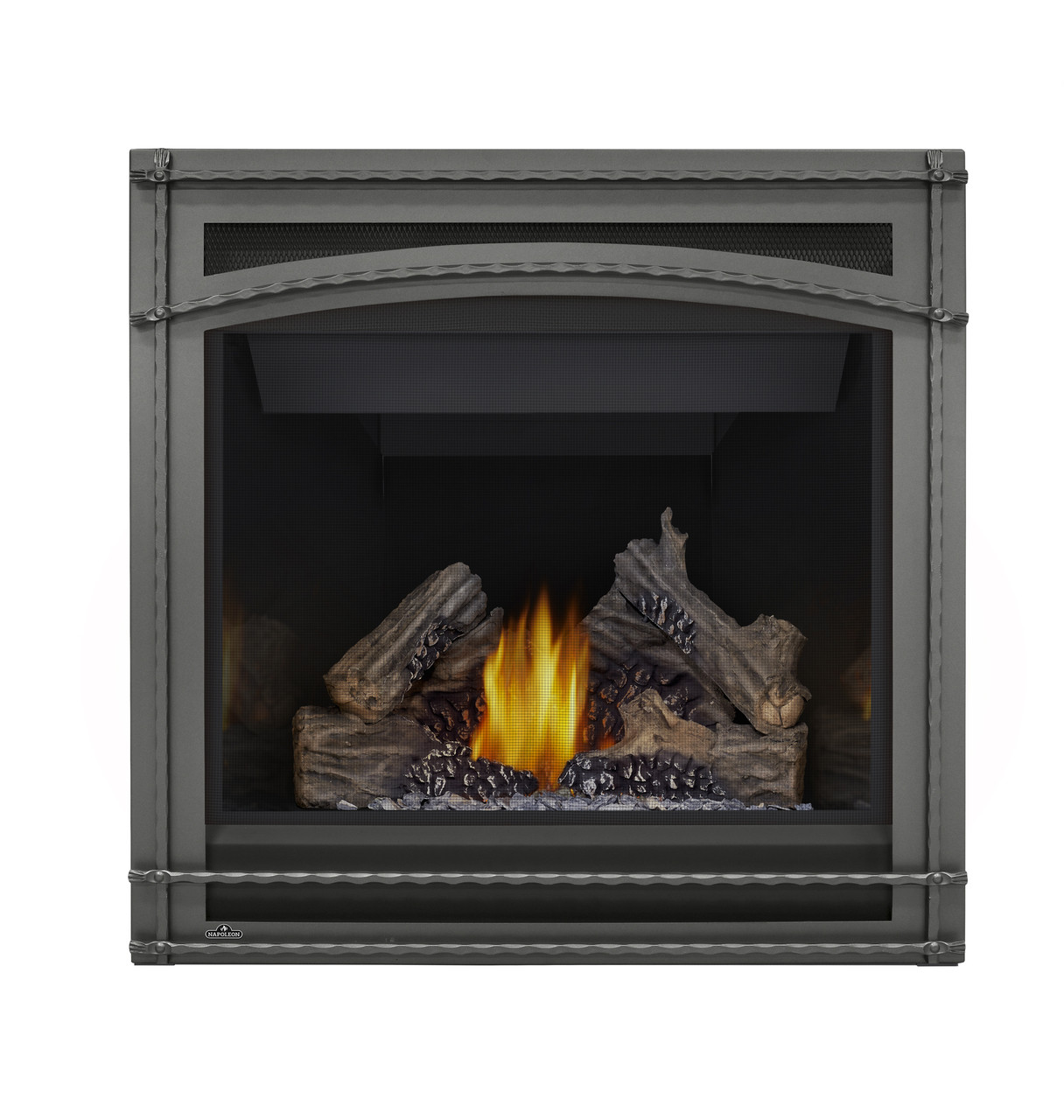 PHAZER Log Set, Wrought Iron Front, MIRRO-FLAME Porcelain Reflective Radiant Panels
