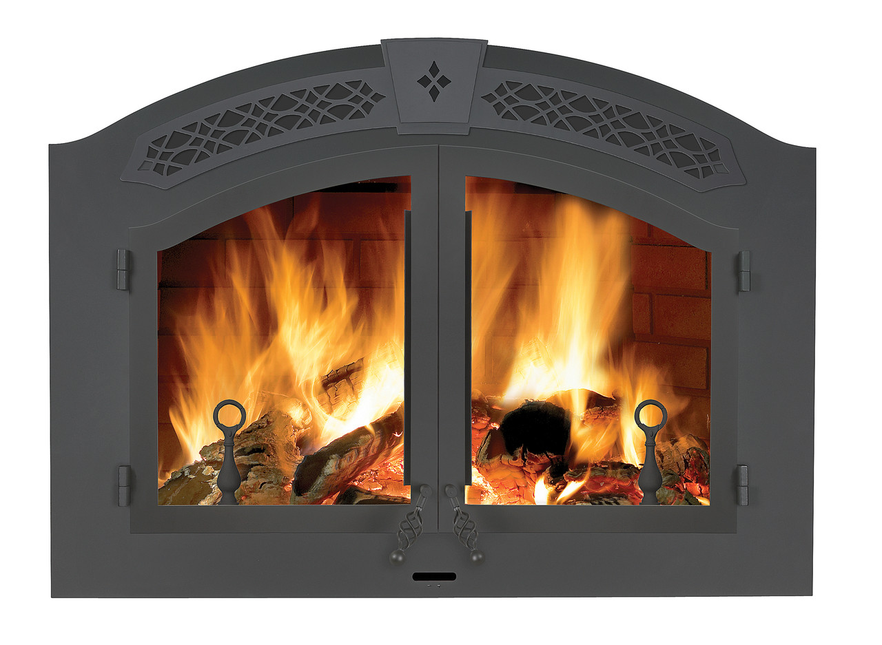 Complete Arched Black Double Doors, Faceplate and Upper Grill and Black Andirons