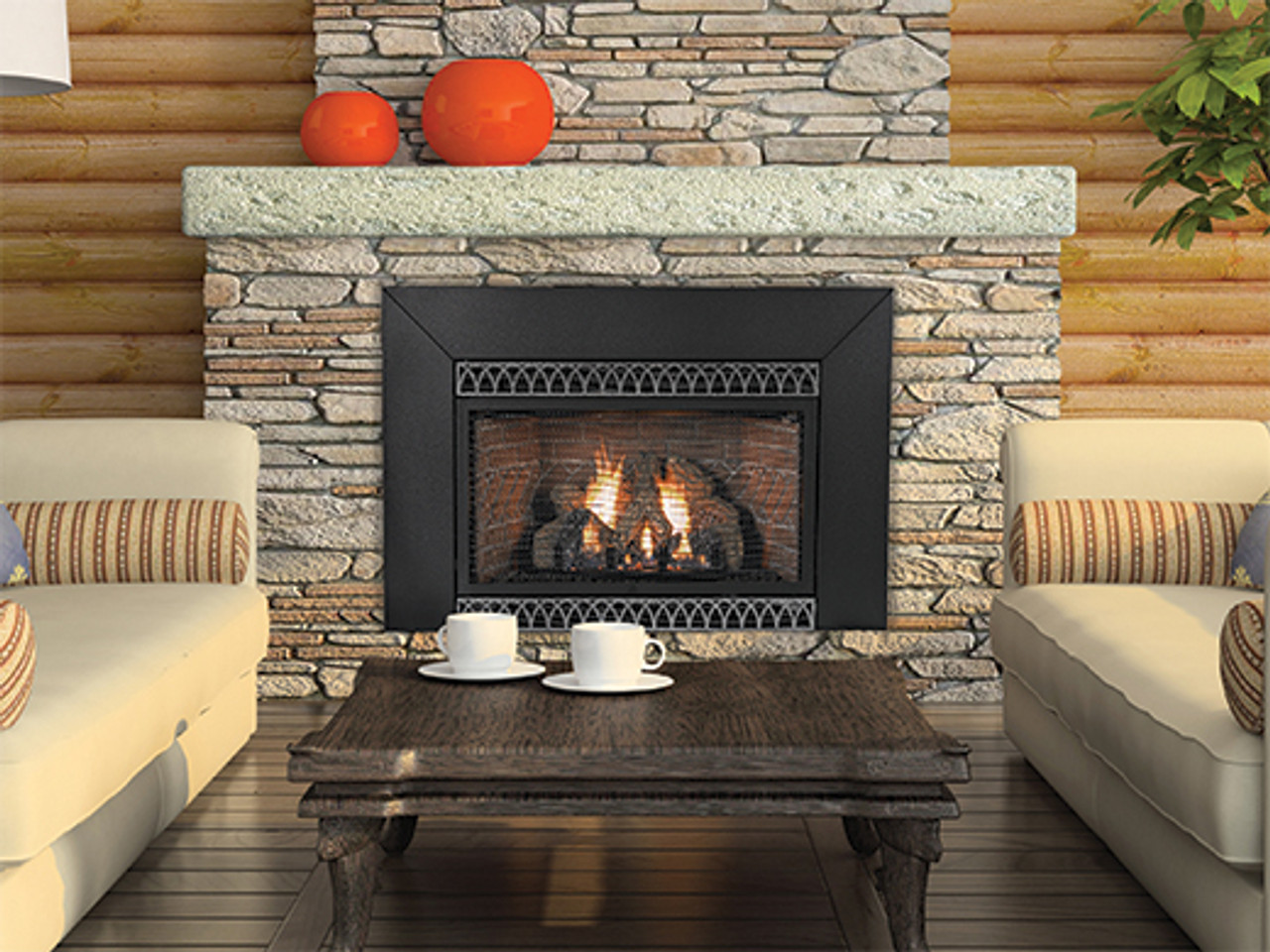 Empire The Innsbrook Vent-Free Cleanface Insert/Fireplace with Barrier - Intermittent Pilot Control with On/Off Switch - 28,000 Btu