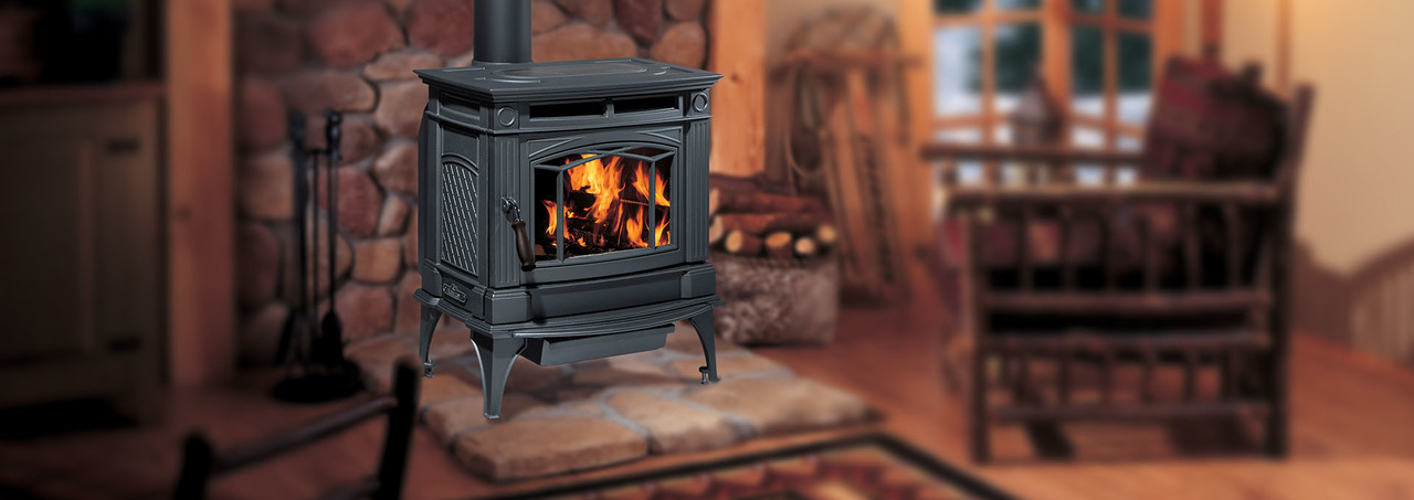 Hampton® H300 Large Cast Iron Wood Stove - Charcoal Gray