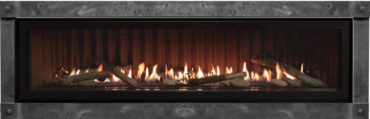 Empire Boulevard 48 inch Linear Direct Vent Fireplace - DVLL48, Shown with Ridgeback liner, Rustic Logs, Rocks & Coils with the Forged Iron Trim