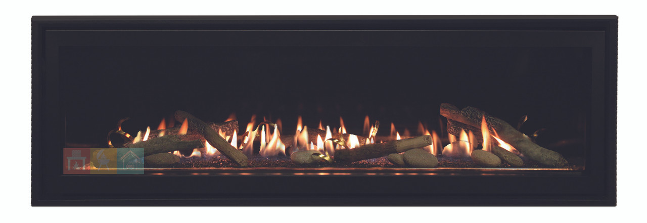Empire Boulevard Linear Direct Vent Fireplace DVLL60 Shown with Porcelain Reflective Liner Crushed Glass and Driftwood Kit