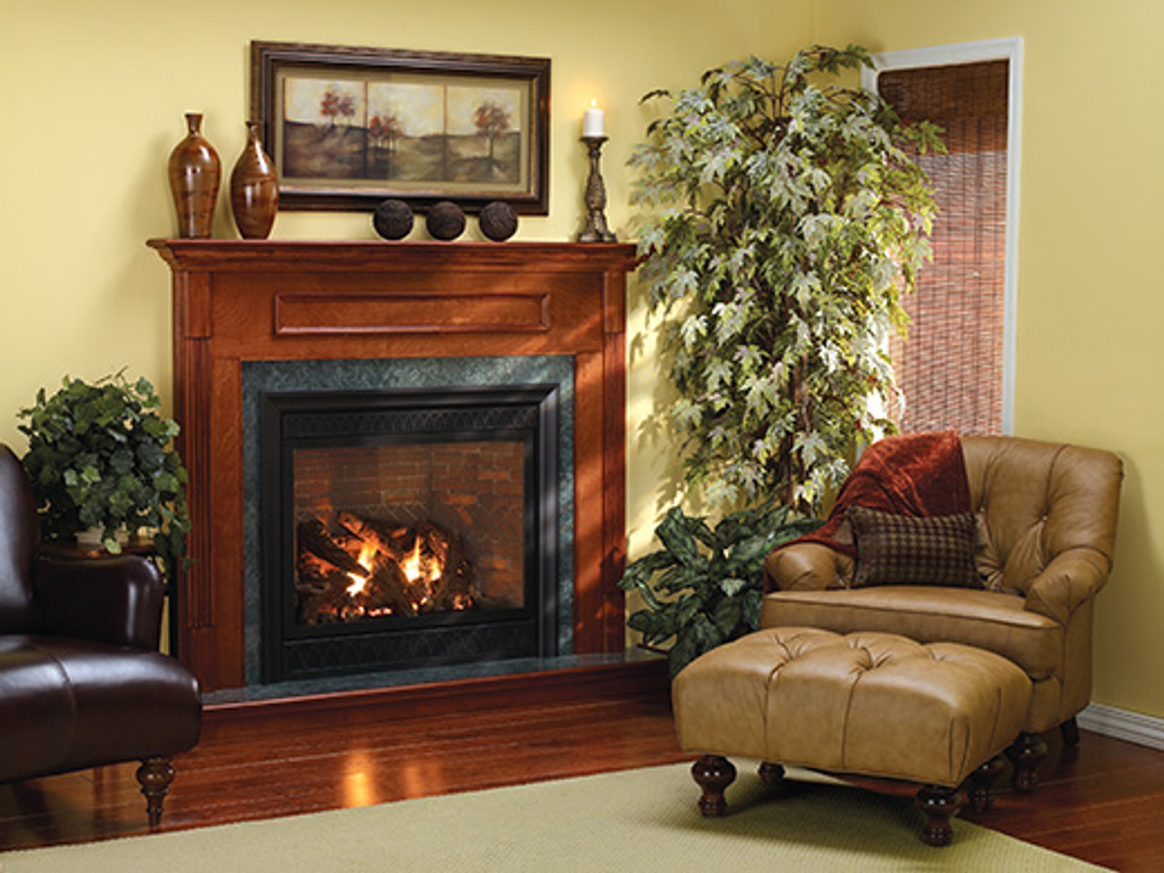 "Empire Tahoe Direct-Vent Fireplace Luxury 42"" - Multi-Function Control (includes Variable Remote to control flame Accent Light, and Blower)"
