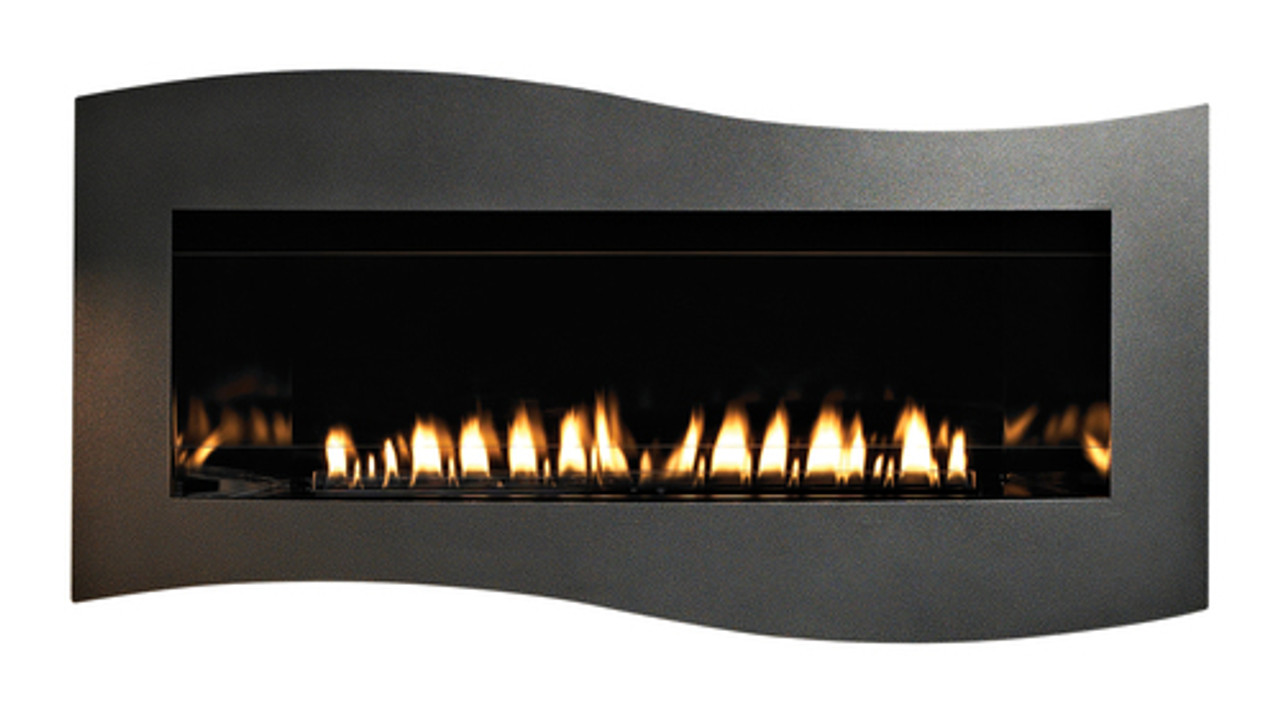 Empire Boulevard Vent Free Contemporary Linear Fireplace with standard Matte interior and Tidewater Matte Black Surround