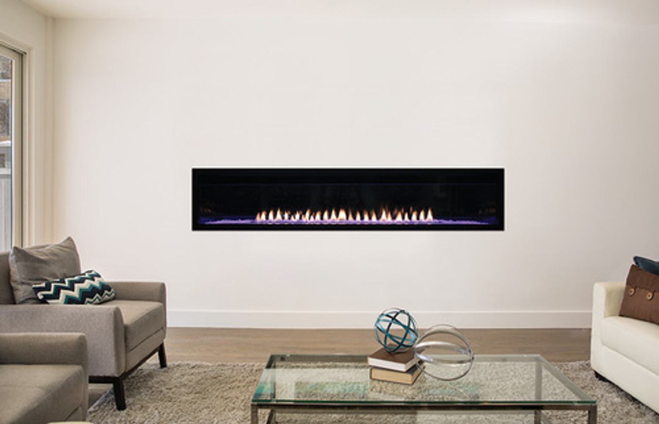 """Empire Boulevard Linear Vent-Free Fireplace with Barrier 72"""" - Intermittent Pilot w/Thermostat Remote, LED Lighting, 40,000 Btu"""