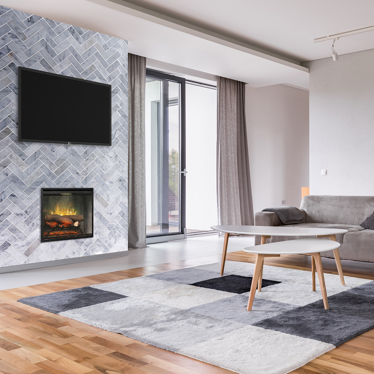Dimplex Revillusion 24 inch Built-In Electric Firebox with Weather Concrete Backer - RBF24DLXWC