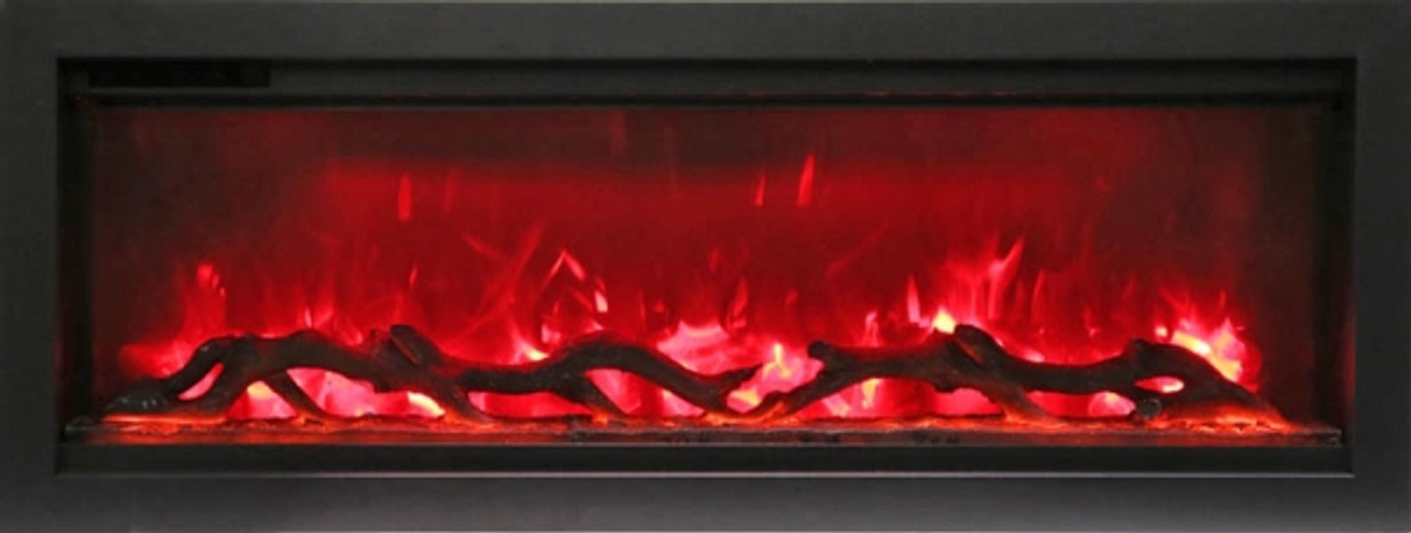 "Amantii 34"" Clean face Electric Built-in with Log and Glass, Black Steel Surround"