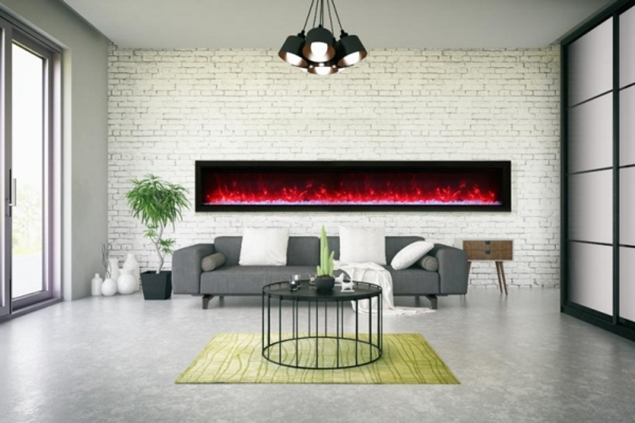 """Amantii 42"""" Clean face Electric Built-in with Log and Glass, Black Steel Surround"""