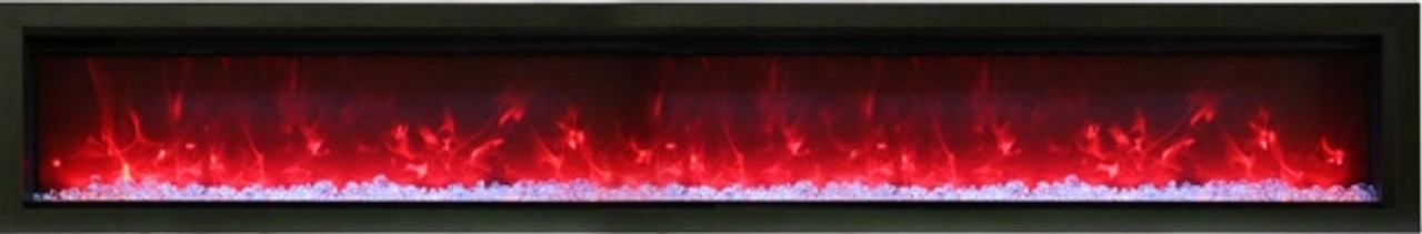 """Amantii 74"""" Clean face Electric Built-in with Log and Glass, Black Steel Surround"""