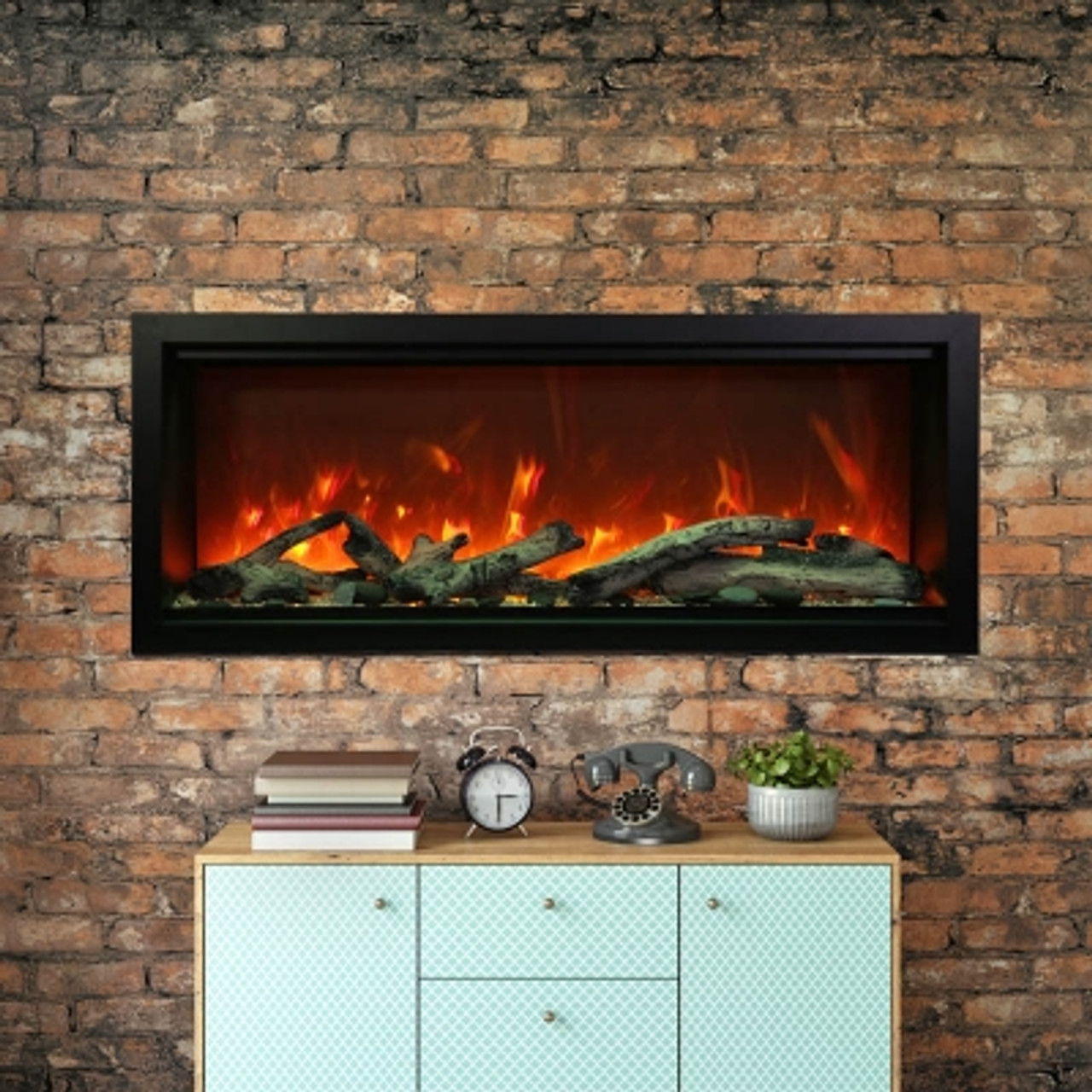 """Amantii 100"""" Extra Tall Clean Face Electric Built-in with Black Steel Surround"""