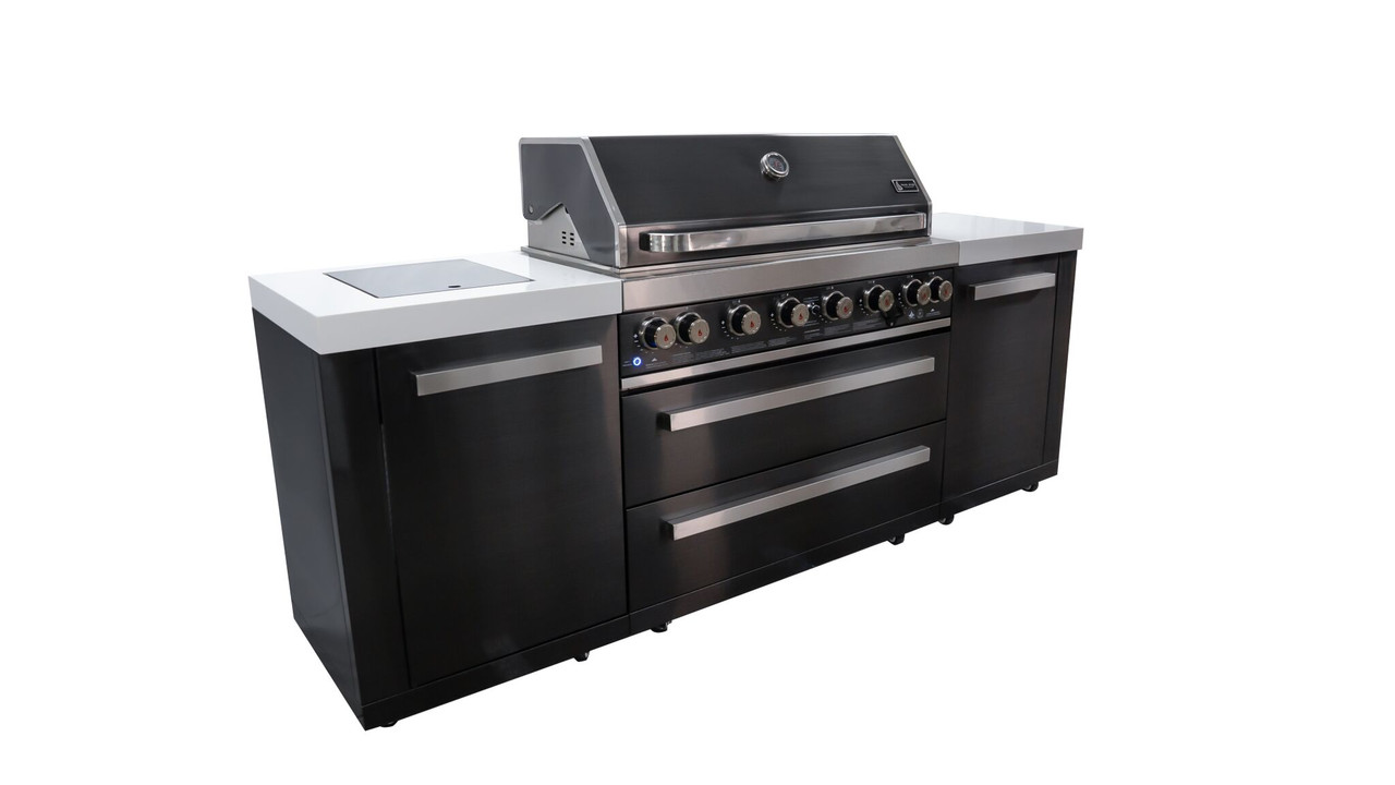 Mont Alpi 805 Black Stainless Complete Outdoor Kitchen Gas Grill Island