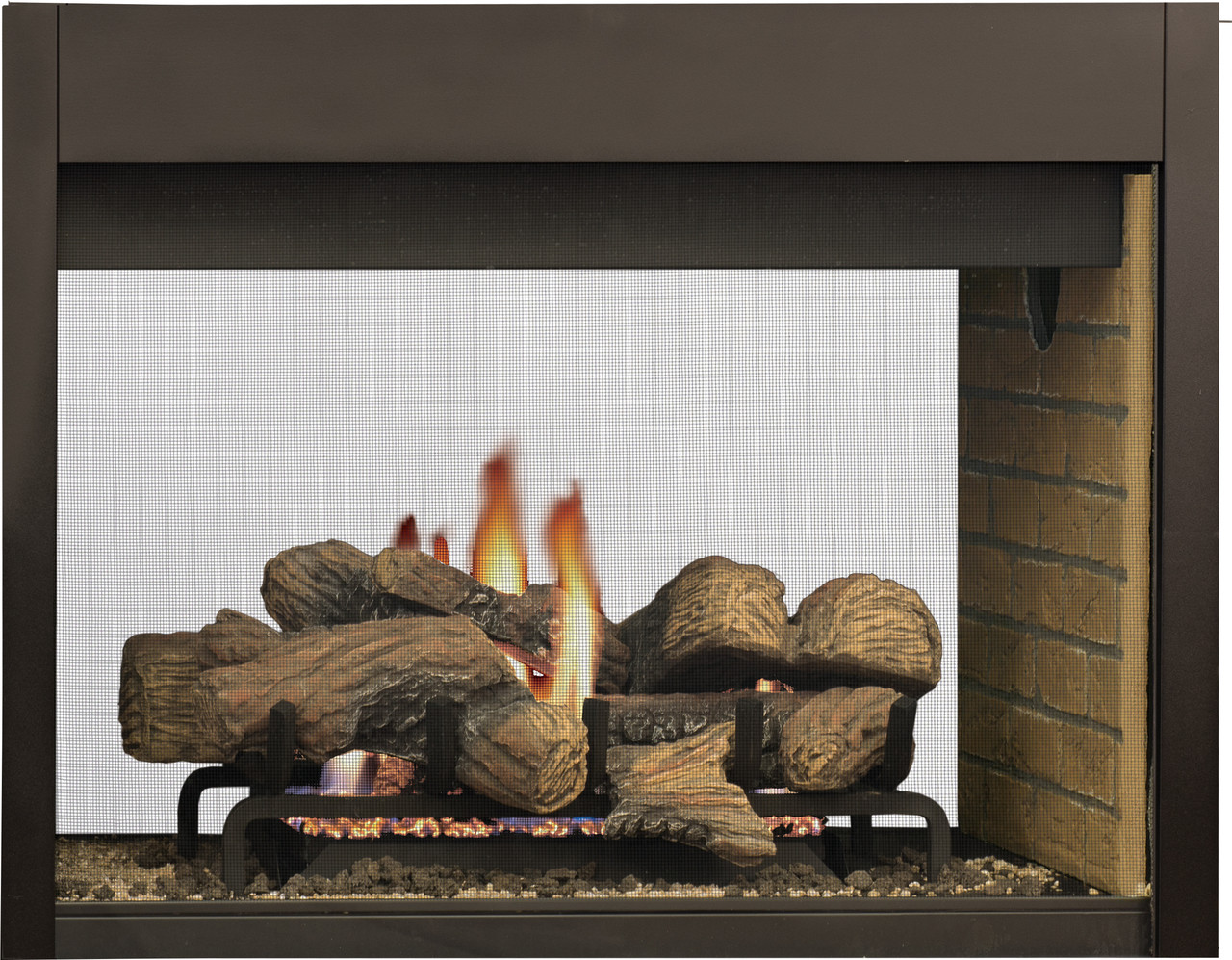 DRT40ST See Through Fireplace with Buff Stacked Brick Liner